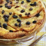 Bread and butter pudding with raisins straight from the oven