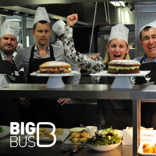Fun corporate cooking event with Big Bus Tours.