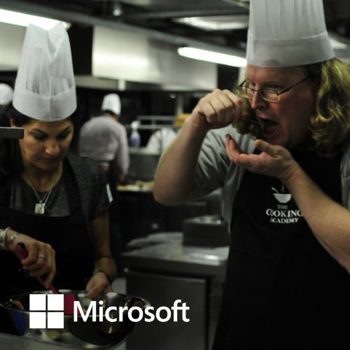 Meeting energiser with Microsoft senior execs at The Cooking Academy Hoxton.