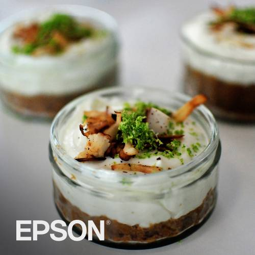 Lime and cardamon cheesecakes by Epson