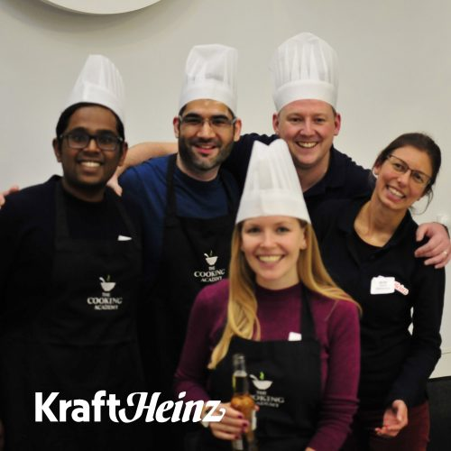 Cookery team building event with Kraft Heinz at The Cooking Academy Langley.