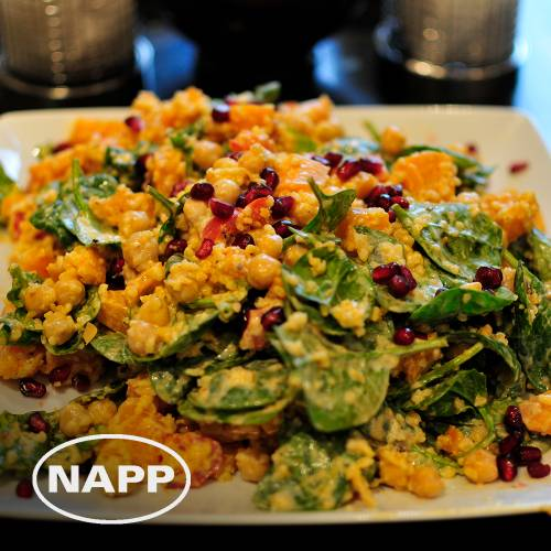 Spiced bulgar, chickpeas and squash salad mby the Napp Pharmaceuticals team