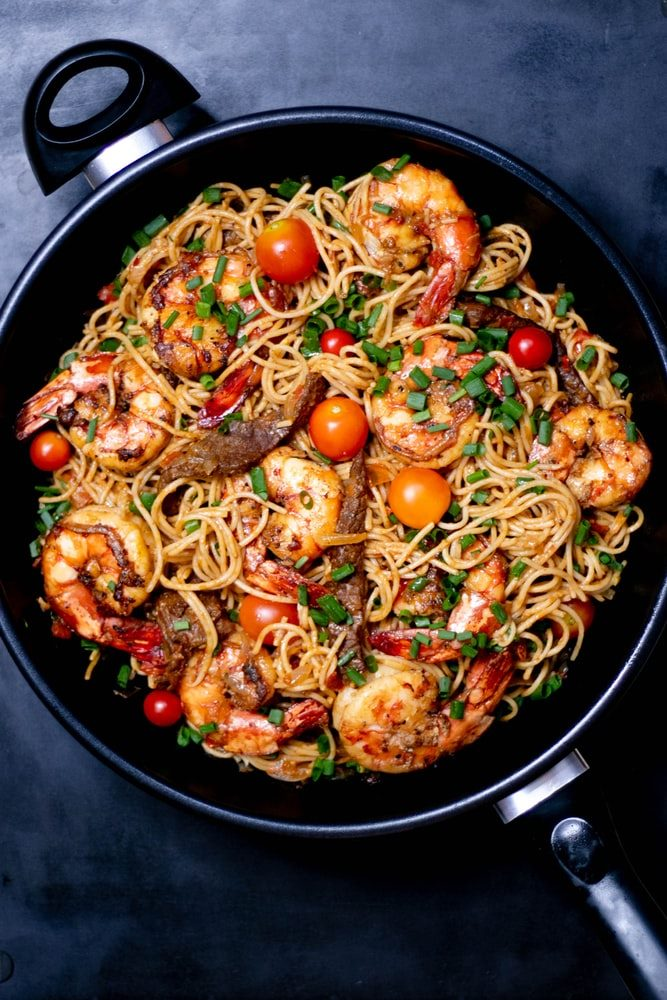 skillet with seafood pasta